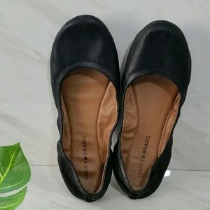 Lucky Brand Ballet Flats Emmie Leather Black 8.5